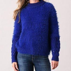 Royal Blue Fuzzy Knit Sweater